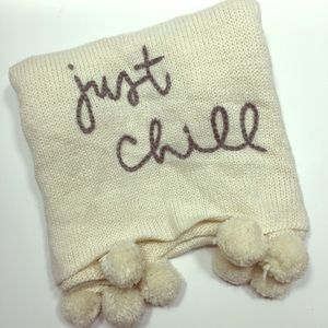 Aerie 'Just Chill' embroidered cream knit scarf